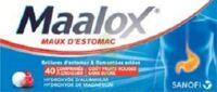 Maalox Maux D'estomac Hydroxyde D'aluminium/hydroxyde De Magnesium 400 Mg/400 Mg Sans Sucre Fruits Rouges, Comprimé à Croquer édulcoré à La Saccharine Sodique, Au Sorbitol Et Au Maltitol