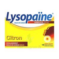 LYSOPAÏNE AMBROXOL 20 mg Pastilles maux de gorge sans sucre citron Plq/18 à La Ricamarie